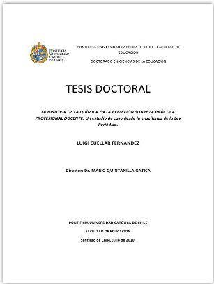 Luigi Cuellar .La Historia de la Química en la Reflexión sobre la Práctica Profesional Docente