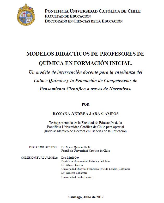 Roxana Andrea Jara CModelos Didácticos de Profesores de Química en Formación