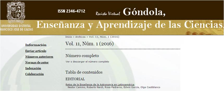 """Vol. 11, núm. 1 (2016) revista """"Góndola, Enseñanza y Aprendizaje de las Ciencias"""" publicado por la Universidad Distrital Francisco José de Caldas (Bogotá-Colombia)."""