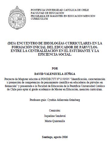 (Des) encuentro de ideologías curriculares en la formación inicial del educador de párvulos.  Entre la centralización en el estudiante y la eficiencia social.